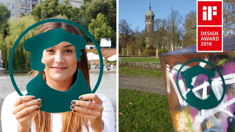 Links: Frau mit Logo in Plastikform vor Gesicht, rechts: Logo auf Metallkonstruktion gesprayt