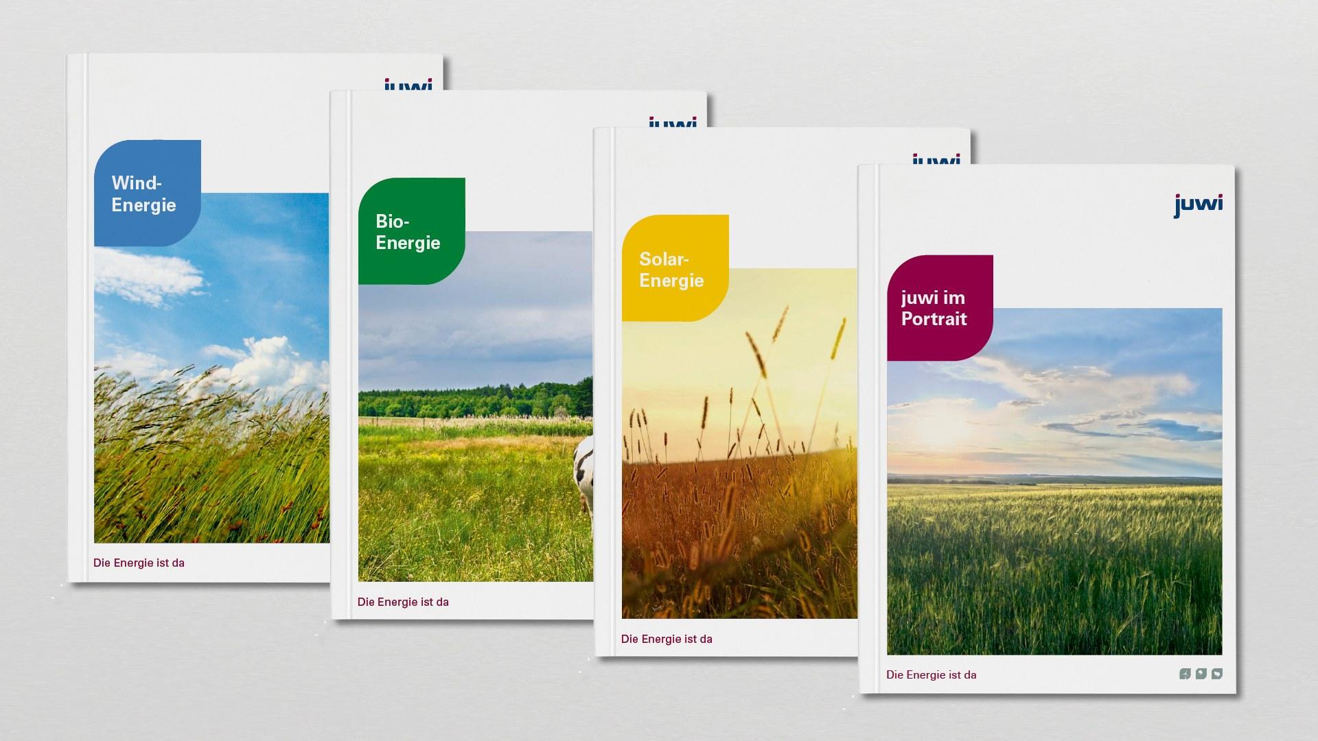 Juwi Broschüren für die Bereiche Solar-, Wind- und Bioenergie